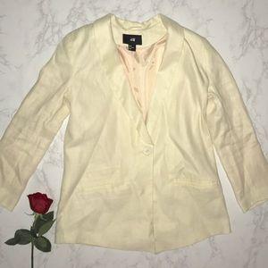 H&M cream blazer one button business jacket 8